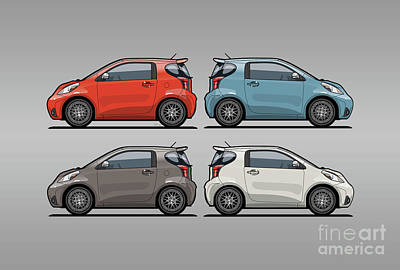 Four Toyota Scion Iq Micro Cars Art Print