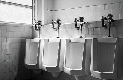 Photograph - Four Urinals In A Row Bw by YoPedro