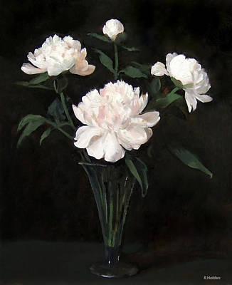 Painting - Four White Peonies In Trumpet Vase by Robert Holden