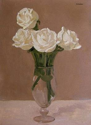 Painting - Four White Roses In A Footed Glass Vase by Robert Holden