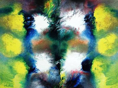Fluid Mixed Media - Four White Spots by Sumit Mehndiratta