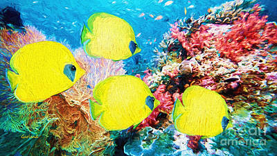 Four Yellow Reef Fish  Art Print