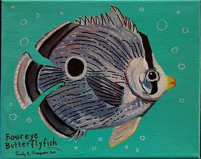 Foureye Butterflyfish Art Print by Emily Reynolds Thompson