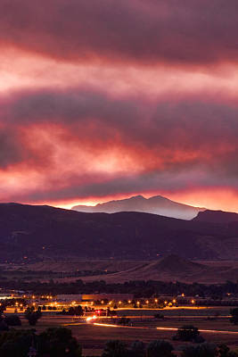 Photograph - Fourmile Canyon Fire At Sunset  by James BO  Insogna