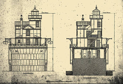 Lighthouse Drawing - Fourteen Foot Lighthouse Plan by Jerry McElroy