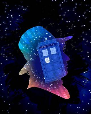 Doctor Who Inspired Fourth Doctor Silhouette  Art Print