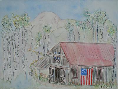 Fourth Of July Barn Original by Christy Woodland