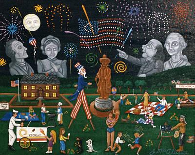 Folk Art Lincoln Painting - Fourth Of July Celebration Litchfield County Conn. by Joshua Mac Allistar