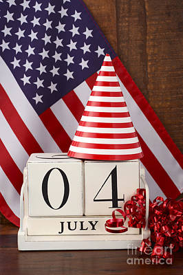 Fourth Of July Vintage Wood Calendar With Flag Background.  Print by Milleflore Images