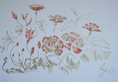 Drawing - Fowers Red And Gold by Mike Jory