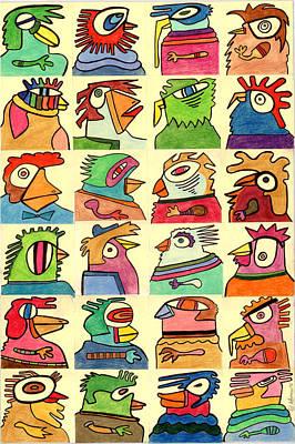 Bid Drawing - Fowl Intentions  by Ed Attanasio