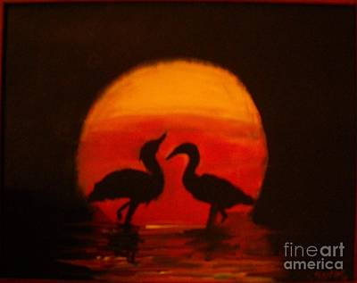Fowl Love Silhouette Art Print by Leslie Revels