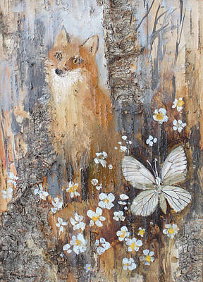 Painting - Fox And Butterfly by Ilya Kondrashov