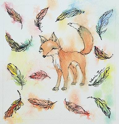Foxes Drawing - Fox And Feathers by Venie Tee