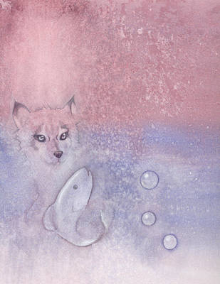 Fox Kit Painting - Fox And Fish by Christine Winters