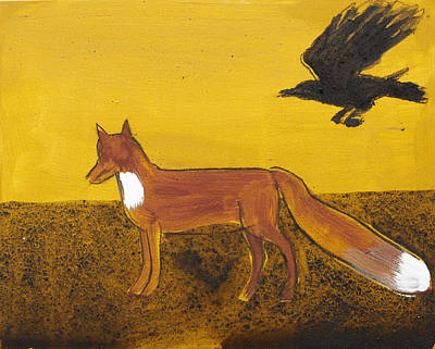 Crows Painting - Fox And Flying Raven by Sophy White