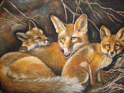 Fox Kit Painting - Fox And Kits by Maryam Shakeri