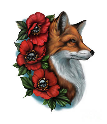 Digital Art - Fox And Poppies by Curiobella- Sweet Jenny Lee