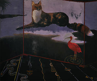 Painting - Fox And Scarlet Ibis by Maury Hurt