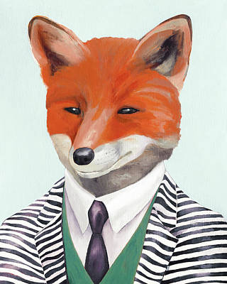 Painting - fox by Animal Crew