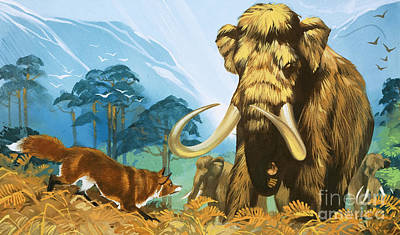Mammoth Painting - Fox Attacking Mammoth by Angus McBride
