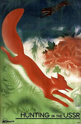 Russia Painting - Fox Chased By A Hunting Dog Among The Woods In Russia - Vintage Poster From Ussr  by Studio Grafiikka