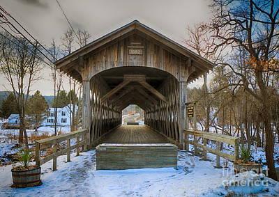 Red Barn In Winter Photograph - Fox Creek Covered Bridge by Elizabeth Dow