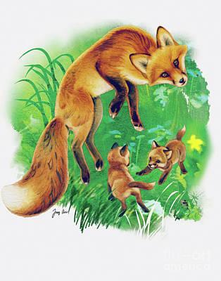 Fox Cubs Play Art Print