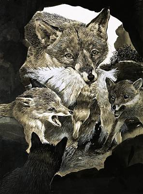 Feeding Young Painting - Fox Delivering Food To Its Cubs  by English School