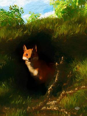 Fox Digital Art - Fox Den by Daniel Eskridge