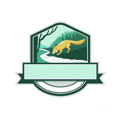 Fox Drinking River Creek Woods Crest Woodcut Art Print