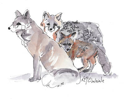 Painting - Fox Family Of Three by Kathleen McElwaine