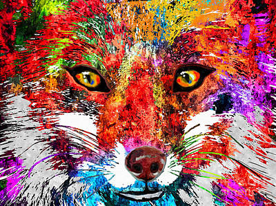 Red Fox Mixed Media - Fox Grunge by Daniel Janda