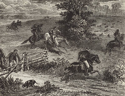 Fox Drawing - Fox Hunting In Virginia by George Augustus Sala