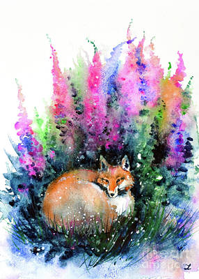 Painting - Fox In Foxgloves by Zaira Dzhaubaeva