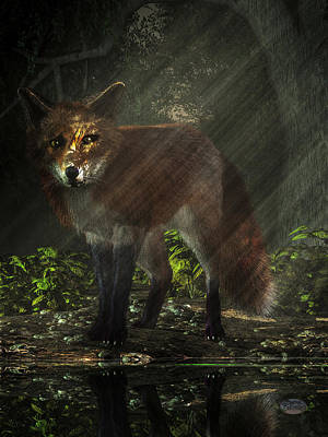 Wild Fox Digital Art - Fox In The Deep Forest by Daniel Eskridge
