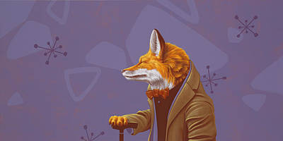 Ties Painting - Fox by Jasper Oostland
