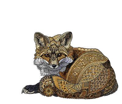 Drawing - Fox Kit by ZH Field