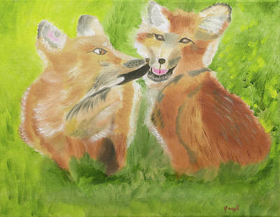 Painting - Red Fox Kit Kisses by Meryl Goudey