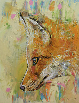 Abstract Wildlife Painting - Fox by Michael Creese