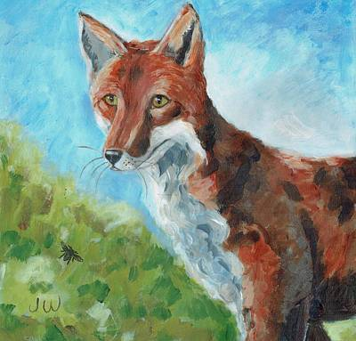 Painting - Fox, On The Look-out by June Walker