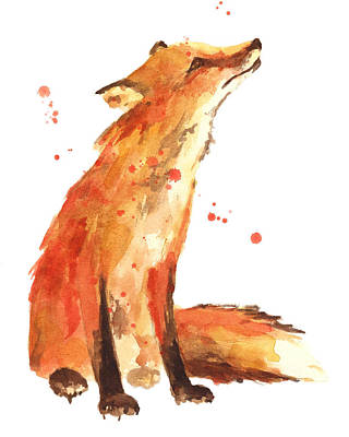 Watercolor Portraits Painting - Fox Painting - Print From Original by Alison Fennell