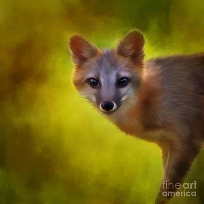Linda King Painting - Fox Painting by Linda King