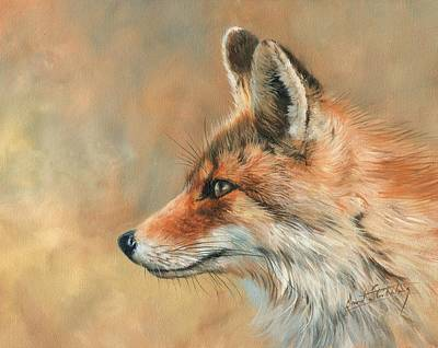 Painting - Fox Portrait by David Stribbling