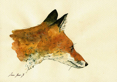 Decals Painting - Fox Portrait Head by Juan  Bosco