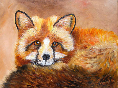 Painting - Fox Portrait Wildlife by Mary Jo Zorad