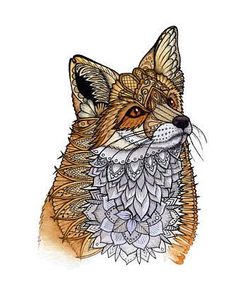 Drawing - Fox Portrait by ZH Field