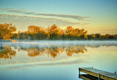 Fox River Above Mchenry Dam At Sunrise Art Print