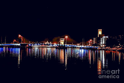 Nikki Vig Royalty-Free and Rights-Managed Images - Fox River Green Bay at Night by Nikki Vig