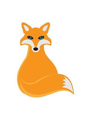 Vulpes Digital Art - Fox Sitting Illustration by Jit Lim